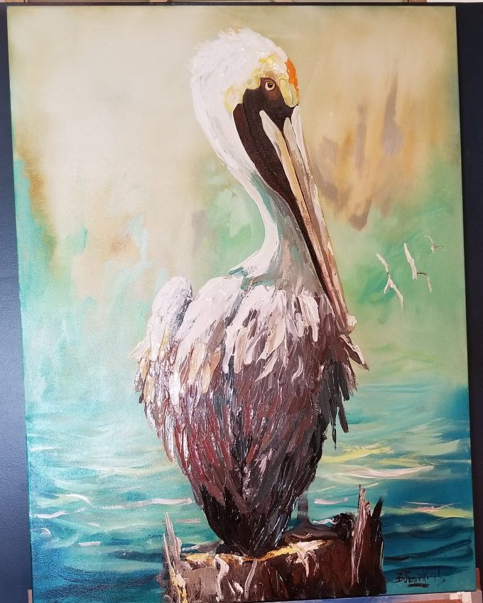pelican oil on canvas